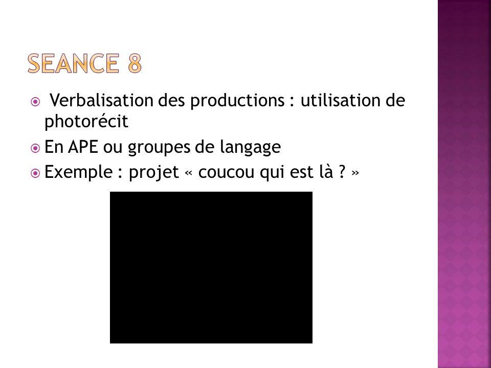 Verbalisation des productions : utilisation de photorécit En APE ou groupes de langage Exemple : projet « coucou qui est là ? »