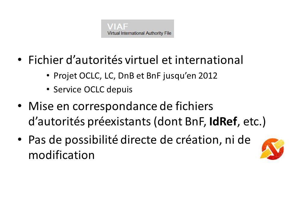Fichier dautorités virtuel et international Projet OCLC, LC, DnB et BnF jusquen 2012 Service OCLC depuis Mise en correspondance de fichiers dautorités préexistants (dont BnF, IdRef, etc.) Pas de possibilité directe de création, ni de modification