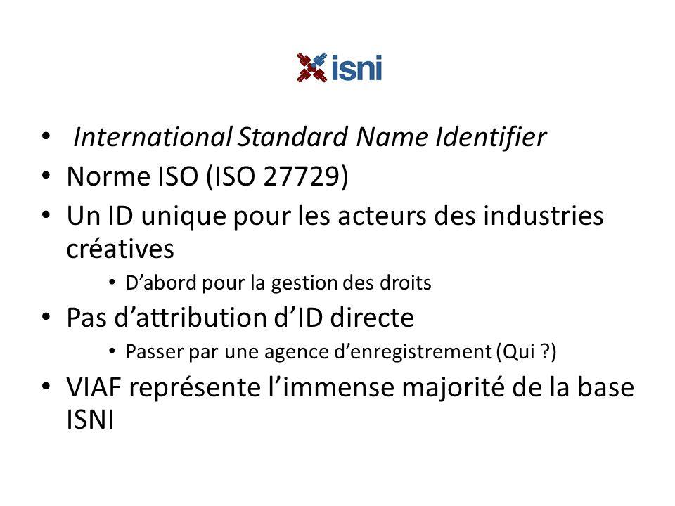 International Standard Name Identifier Norme ISO (ISO 27729) Un ID unique pour les acteurs des industries créatives Dabord pour la gestion des droits Pas dattribution dID directe Passer par une agence denregistrement (Qui ) VIAF représente limmense majorité de la base ISNI