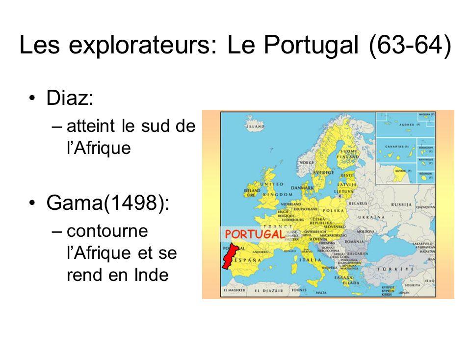 Les explorateurs: Le Portugal (63-64) Diaz: –atteint le sud de lAfrique Gama(1498): –contourne lAfrique et se rend en Inde