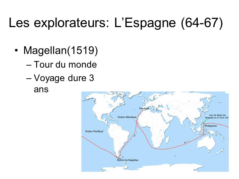 Les explorateurs: LEspagne (64-67) Magellan(1519) –Tour du monde –Voyage dure 3 ans