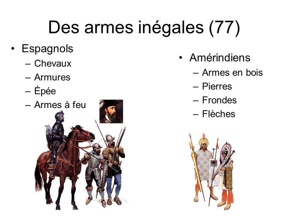 Des armes inégales (77) Espagnols –Chevaux –Armures –Épée –Armes à feu Amérindiens –Armes en bois –Pierres –Frondes –Flèches