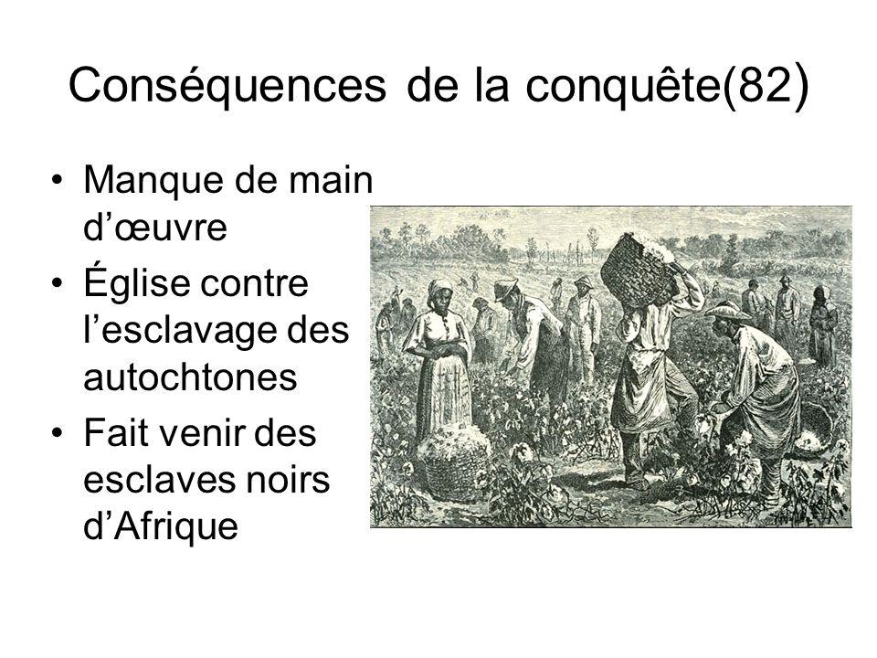 Conséquences de la conquête(82 ) Manque de main dœuvre Église contre lesclavage des autochtones Fait venir des esclaves noirs dAfrique
