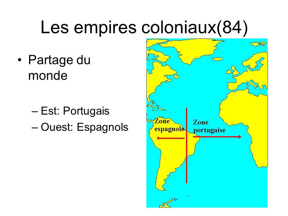 Les empires coloniaux(84) Partage du monde –Est: Portugais –Ouest: Espagnols