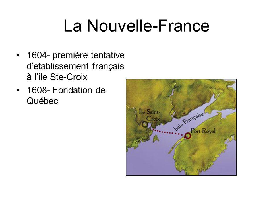 La Nouvelle-France 1604- première tentative détablissement français à lile Ste-Croix 1608- Fondation de Québec