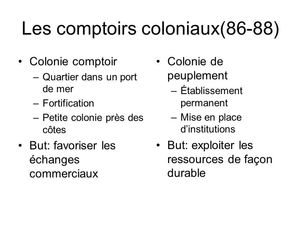 Les comptoirs coloniaux(86-88) Colonie comptoir –Quartier dans un port de mer –Fortification –Petite colonie près des côtes But: favoriser les échange