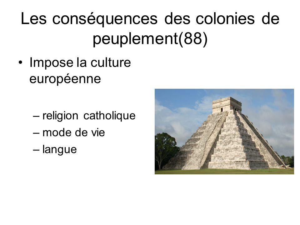 Les conséquences des colonies de peuplement(88) Impose la culture européenne –religion catholique –mode de vie –langue