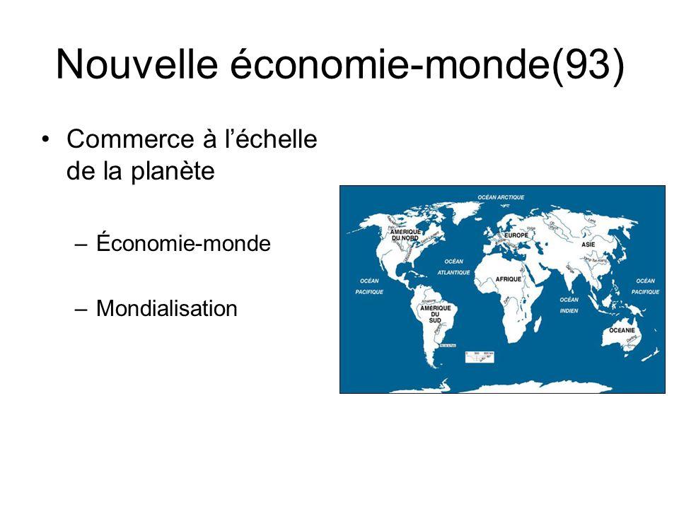 Nouvelle économie-monde(93) Commerce à léchelle de la planète –Économie-monde –Mondialisation