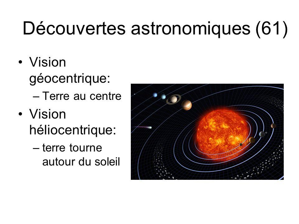 Découvertes astronomiques (61) Vision géocentrique: –Terre au centre Vision héliocentrique: –terre tourne autour du soleil