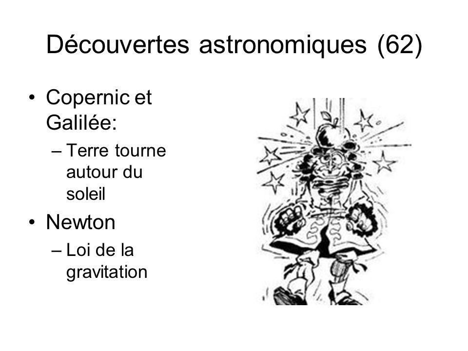 Découvertes astronomiques (62) Copernic et Galilée: –Terre tourne autour du soleil Newton –Loi de la gravitation