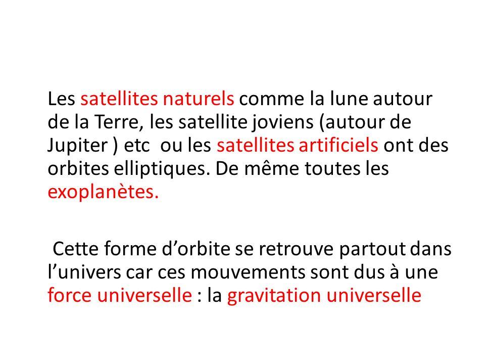 Les satellites naturels comme la lune autour de la Terre, les satellite joviens (autour de Jupiter ) etc ou les satellites artificiels ont des orbites