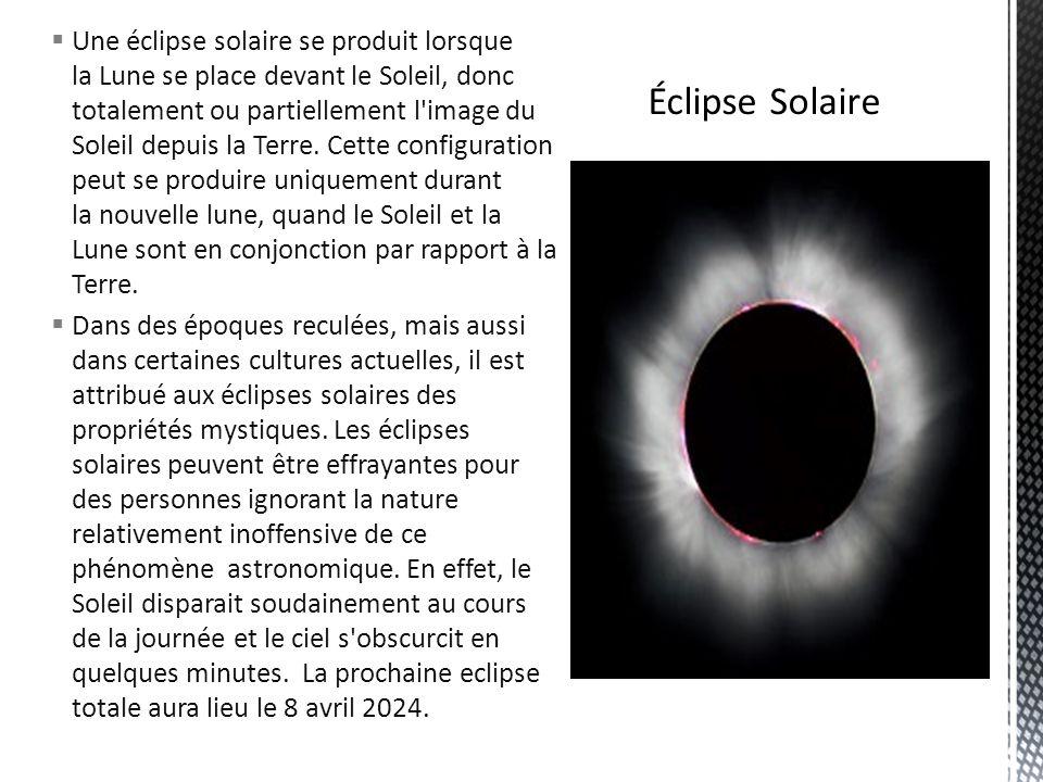 Une éclipse solaire se produit lorsque la Lune se place devant le Soleil, donc totalement ou partiellement l'image du Soleil depuis la Terre. Cette co