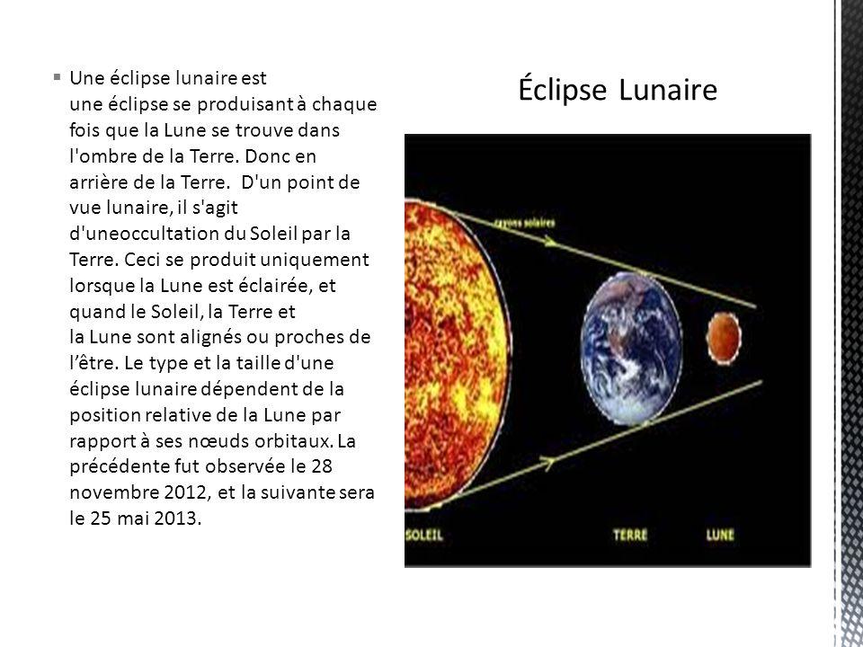 Une éclipse lunaire est une éclipse se produisant à chaque fois que la Lune se trouve dans l ombre de la Terre.