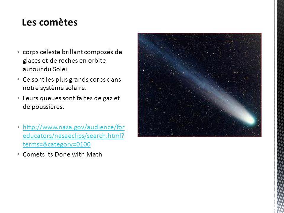 corps céleste brillant composés de glaces et de roches en orbite autour du Soleil Ce sont les plus grands corps dans notre système solaire.