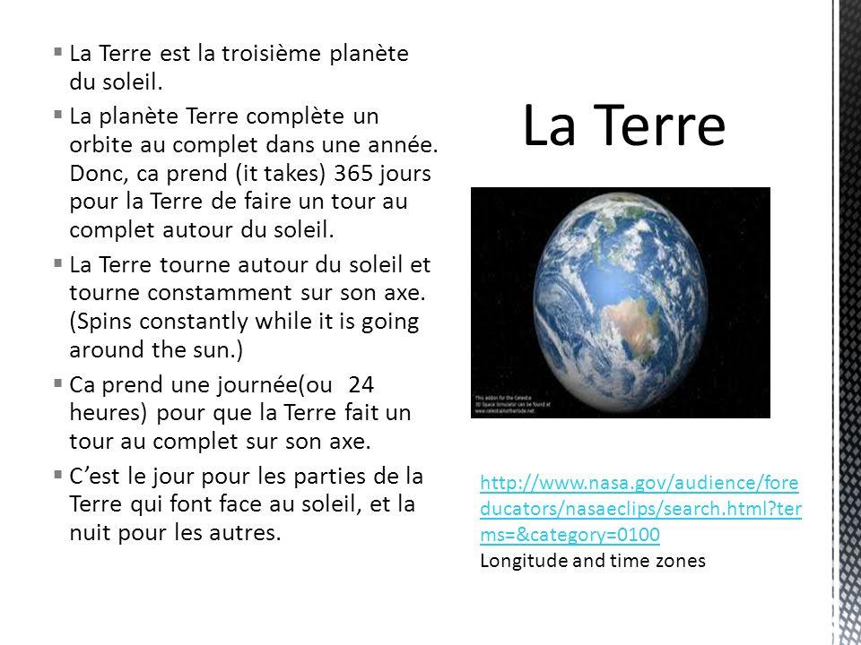 La Terre est la troisième planète du soleil. La planète Terre complète un orbite au complet dans une année. Donc, ca prend (it takes) 365 jours pour l