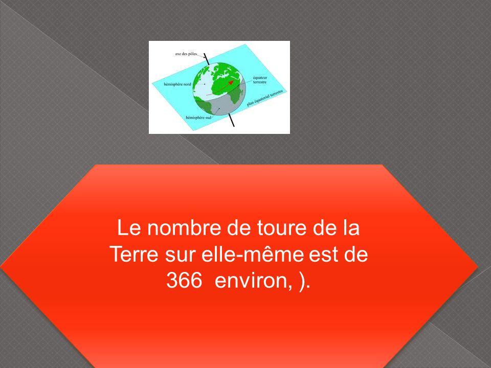 Le nombre de toure de la Terre sur elle-même est de 366 environ, ). Le nombre de toure de la Terre sur elle-même est de 366 environ, ).