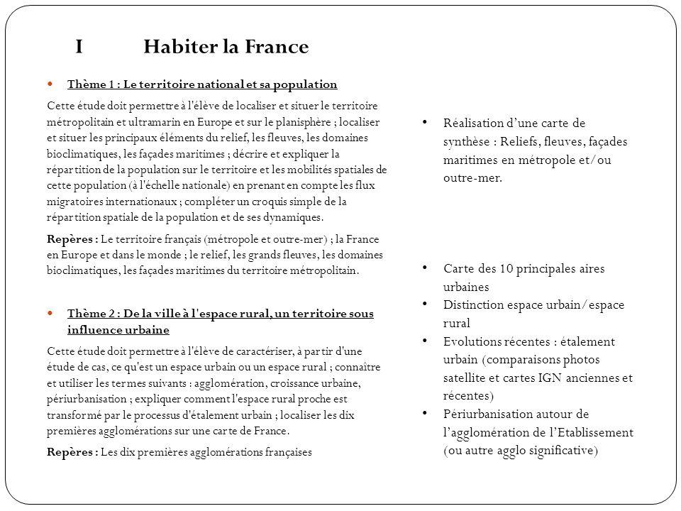 IHabiter la France Thème 1 : Le territoire national et sa population Cette étude doit permettre à l'élève de localiser et situer le territoire métropo