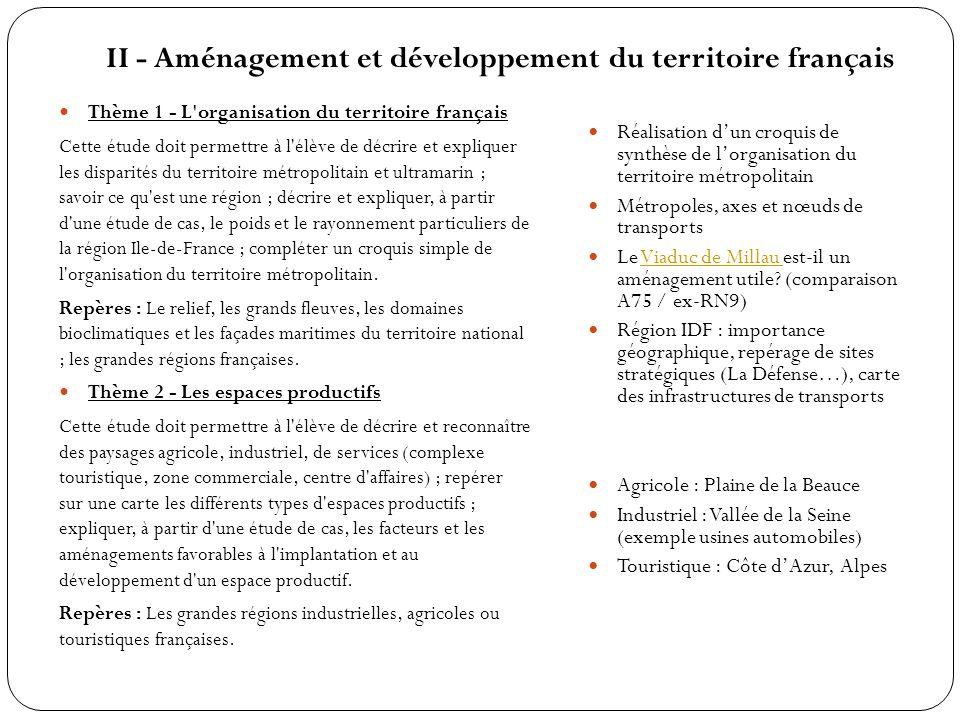 II - Aménagement et développement du territoire français Thème 1 - L'organisation du territoire français Cette étude doit permettre à l'élève de décri