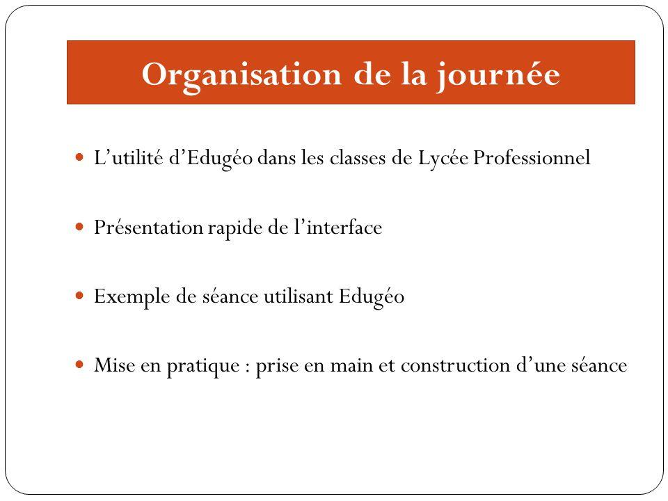 Organisation de la journée Lutilité dEdugéo dans les classes de Lycée Professionnel Présentation rapide de linterface Exemple de séance utilisant Edug