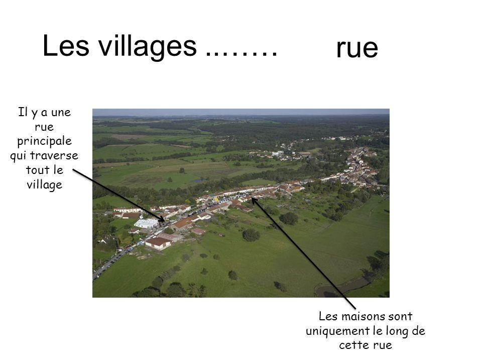 Les villages..…… rue Il y a une rue principale qui traverse tout le village Les maisons sont uniquement le long de cette rue
