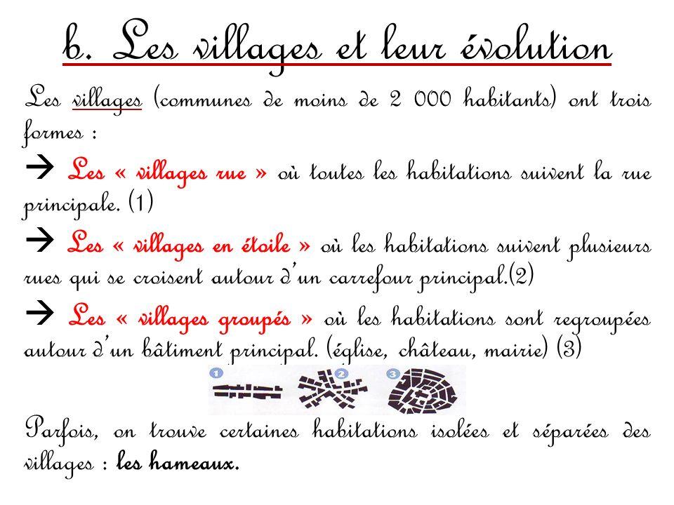 b. Les villages et leur évolution Les villages (communes de moins de 2 000 habitants) ont trois formes : Les « villages rue » où toutes les habitation