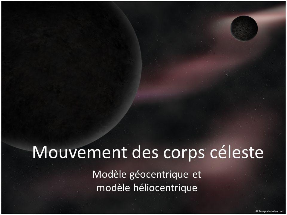 Mouvement des corps céleste Modèle géocentrique et modèle héliocentrique