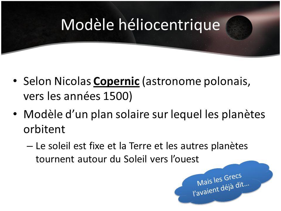 Modèle héliocentrique Selon Nicolas Copernic (astronome polonais, vers les années 1500) Modèle dun plan solaire sur lequel les planètes orbitent – Le soleil est fixe et la Terre et les autres planètes tournent autour du Soleil vers louest Mais les Grecs lavaient déjà dit…