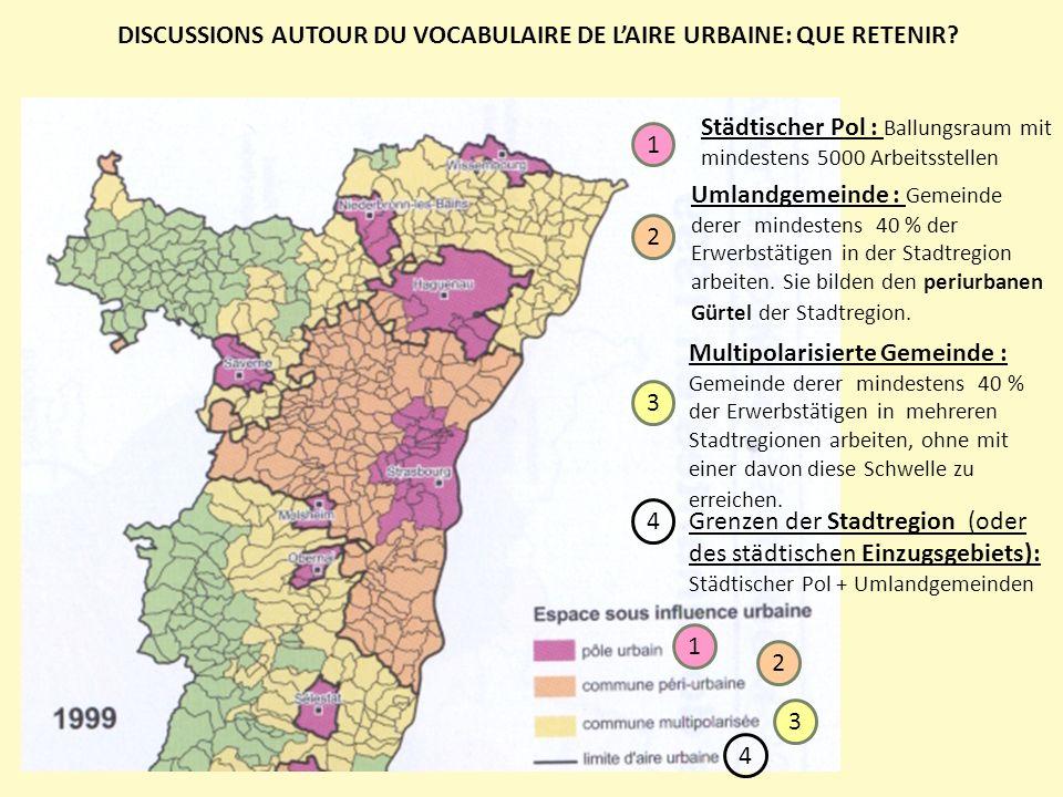 Schéma dune aire urbaine, Histoire Géographie 3°, Magnard, 2012 Das Zentrum der Stadt/ die Kernstadt/ die Innenstadt?= mindestens 50% der Bevölkerung des städtischen Pols (au sens de lINSEE)