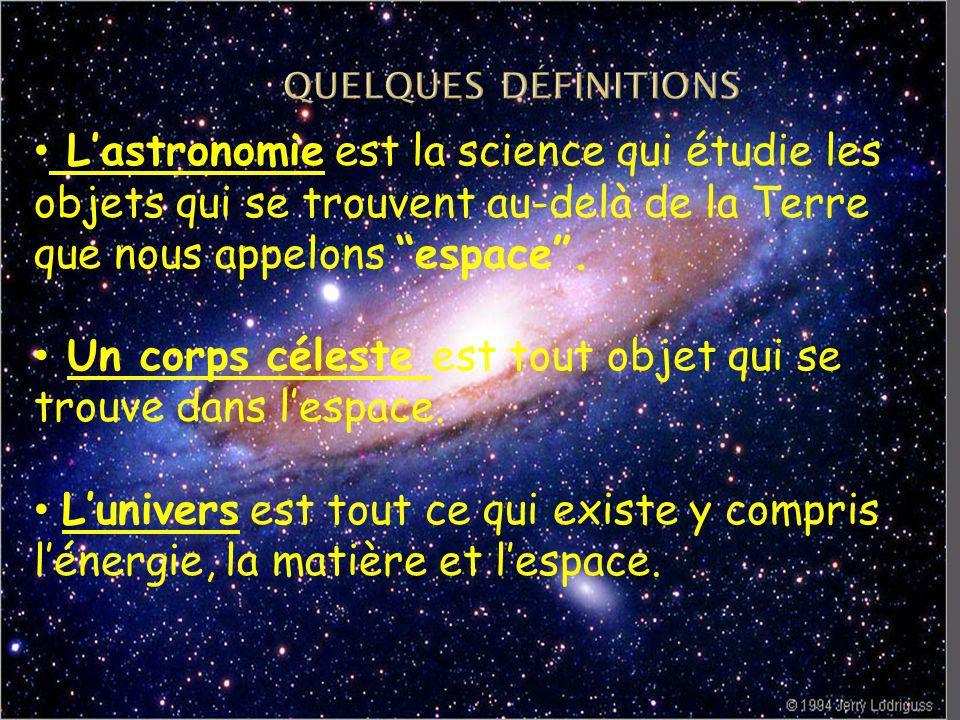 Lastronomie est la science qui étudie les objets qui se trouvent au-delà de la Terre que nous appelons espace.
