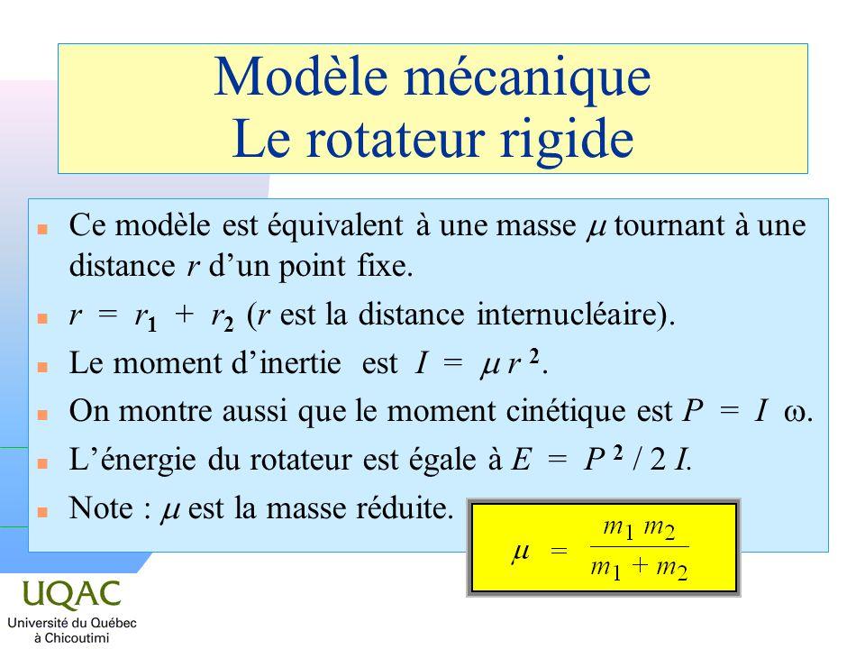Modèle mécanique Le rotateur rigide Ce modèle est équivalent à une masse tournant à une distance r dun point fixe. n r = r 1 + r 2 (r est la distance