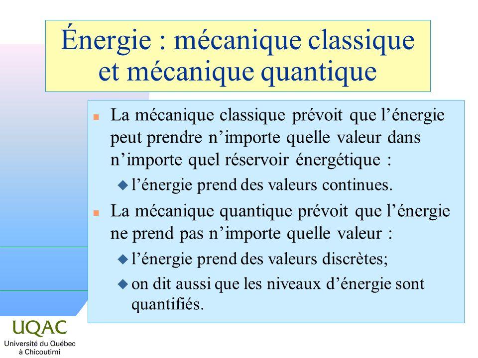 Énergie : mécanique classique et mécanique quantique n La mécanique classique prévoit que lénergie peut prendre nimporte quelle valeur dans nimporte quel réservoir énergétique : u lénergie prend des valeurs continues.
