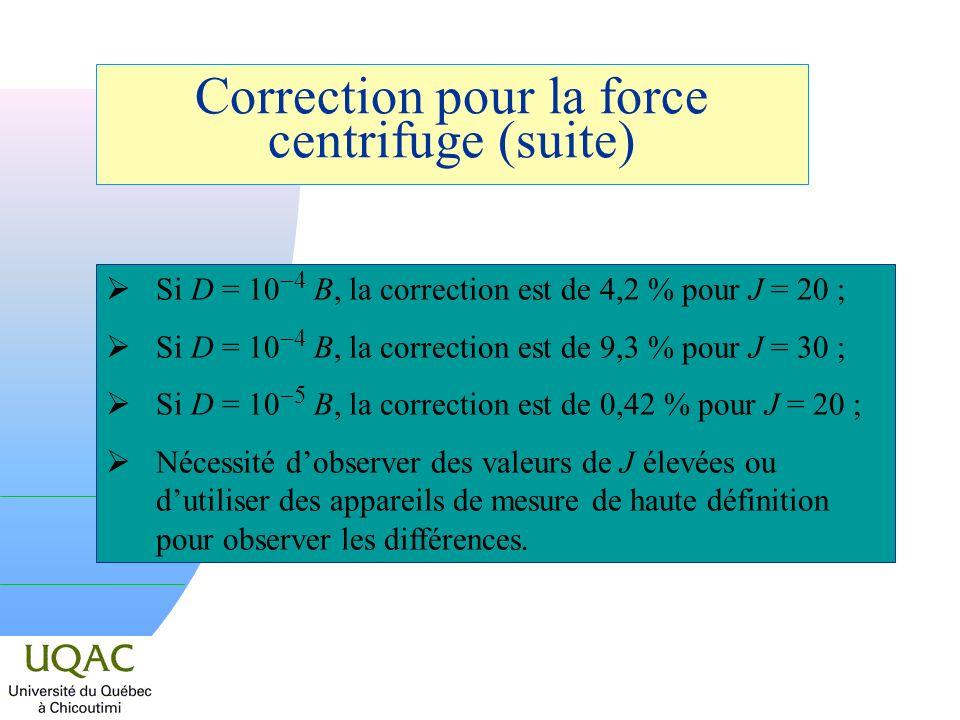Si D = 10 4 B, la correction est de 4,2 % pour J = 20 ; Si D = 10 4 B, la correction est de 9,3 % pour J = 30 ; Si D = 10 5 B, la correction est de 0,42 % pour J = 20 ; Nécessité dobserver des valeurs de J élevées ou dutiliser des appareils de mesure de haute définition pour observer les différences.