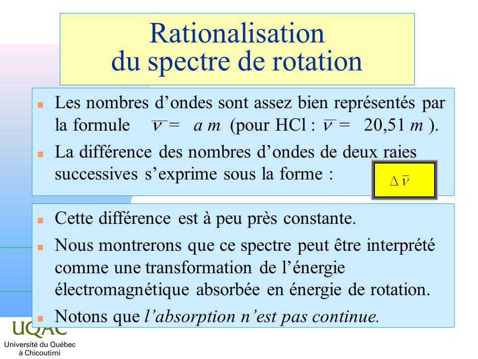 Rationalisation du spectre de rotation Les nombres dondes sont assez bien représentés par la formule = a m (pour HCl : = 20,51 m ). n La différence de