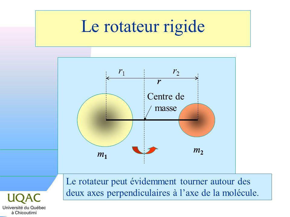 Le rotateur rigide Centre de masse m2m2 m1m1 rr r1r1 r2r2 m2m2 m1m1 rr Le rotateur peut évidemment tourner autour des deux axes perpendiculaires à lax