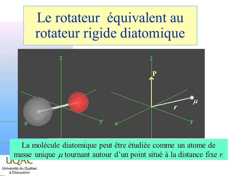 Le rotateur équivalent au rotateur rigide diatomique La molécule diatomique peut être étudiée comme un atome de masse unique tournant autour dun point situé à la distance fixe r.