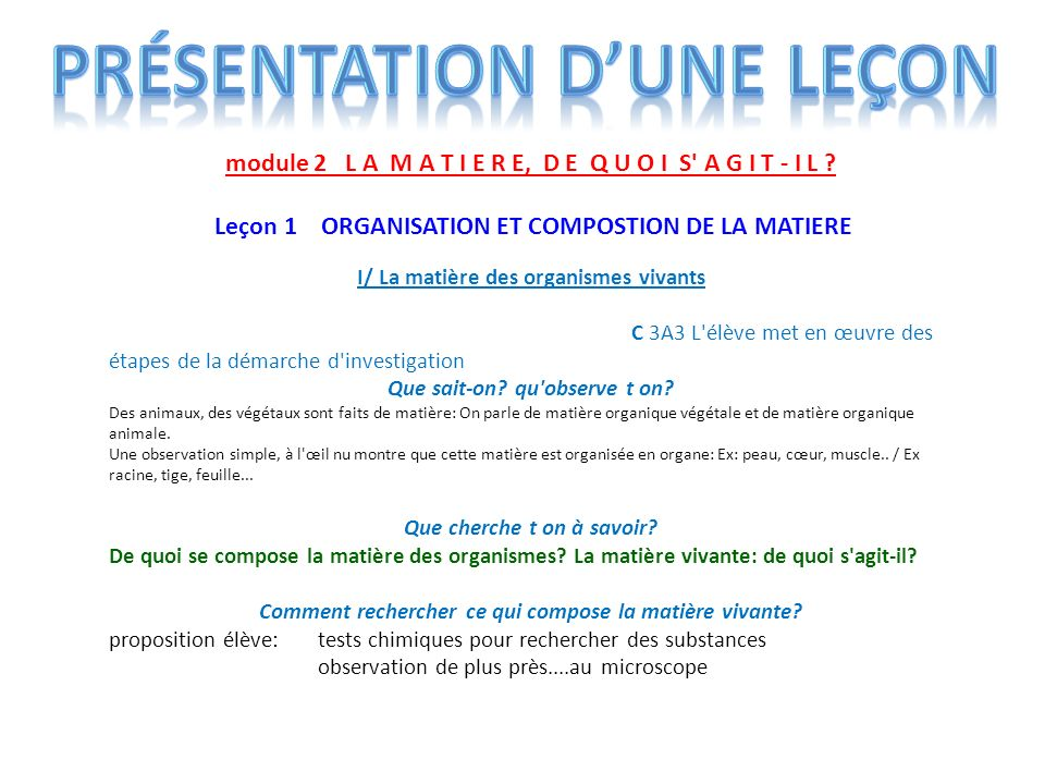 module 2 L A M A T I E R E, D E Q U O I S' A G I T - I L ? Leçon 1 ORGANISATION ET COMPOSTION DE LA MATIERE I/ La matière des organismes vivants C 3A3