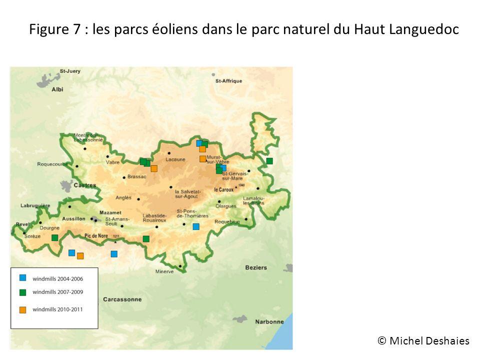Figure 7 : les parcs éoliens dans le parc naturel du Haut Languedoc © Michel Deshaies