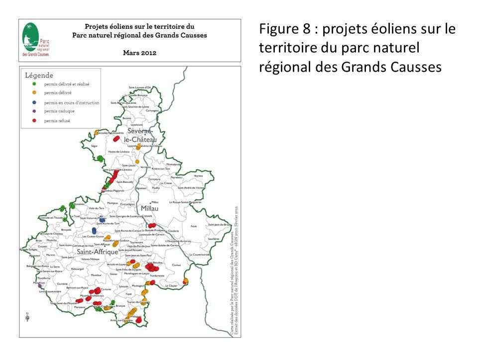 Figure 8 : projets éoliens sur le territoire du parc naturel régional des Grands Causses
