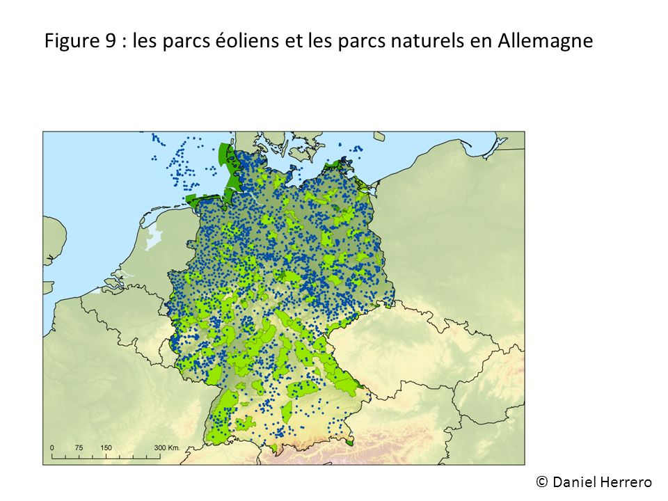 Figure 9 : les parcs éoliens et les parcs naturels en Allemagne © Daniel Herrero