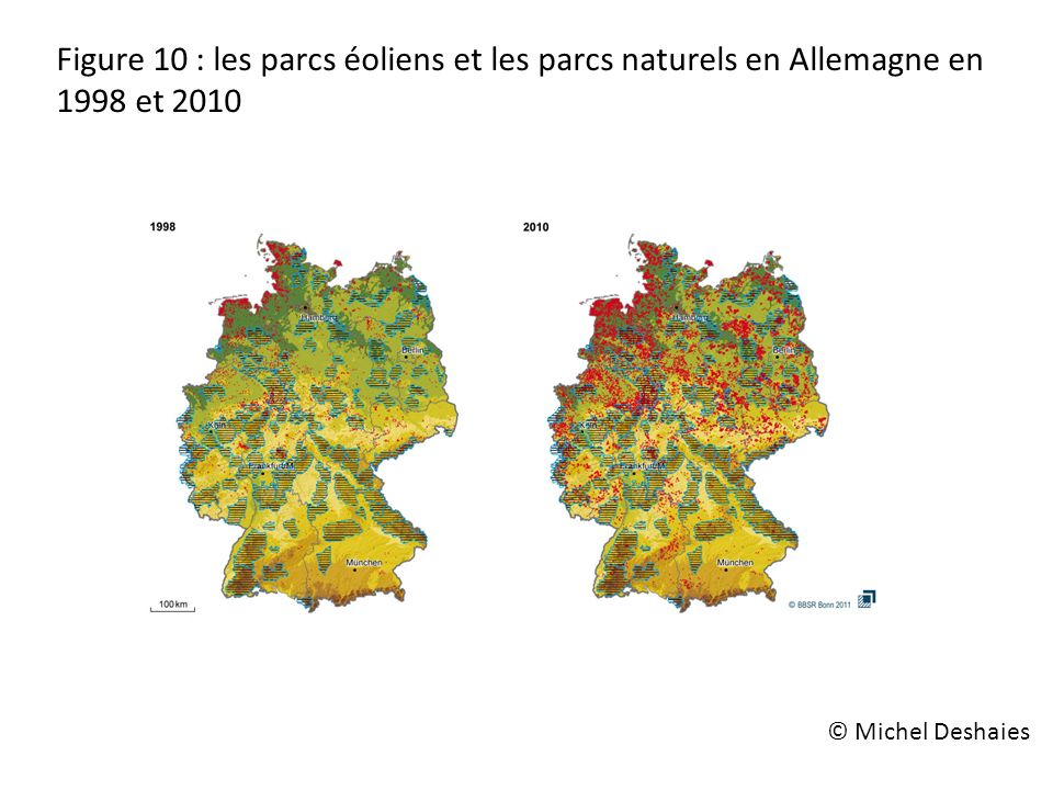 Figure 10 : les parcs éoliens et les parcs naturels en Allemagne en 1998 et 2010 © Michel Deshaies