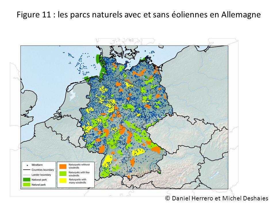 Figure 11 : les parcs naturels avec et sans éoliennes en Allemagne © Daniel Herrero et Michel Deshaies