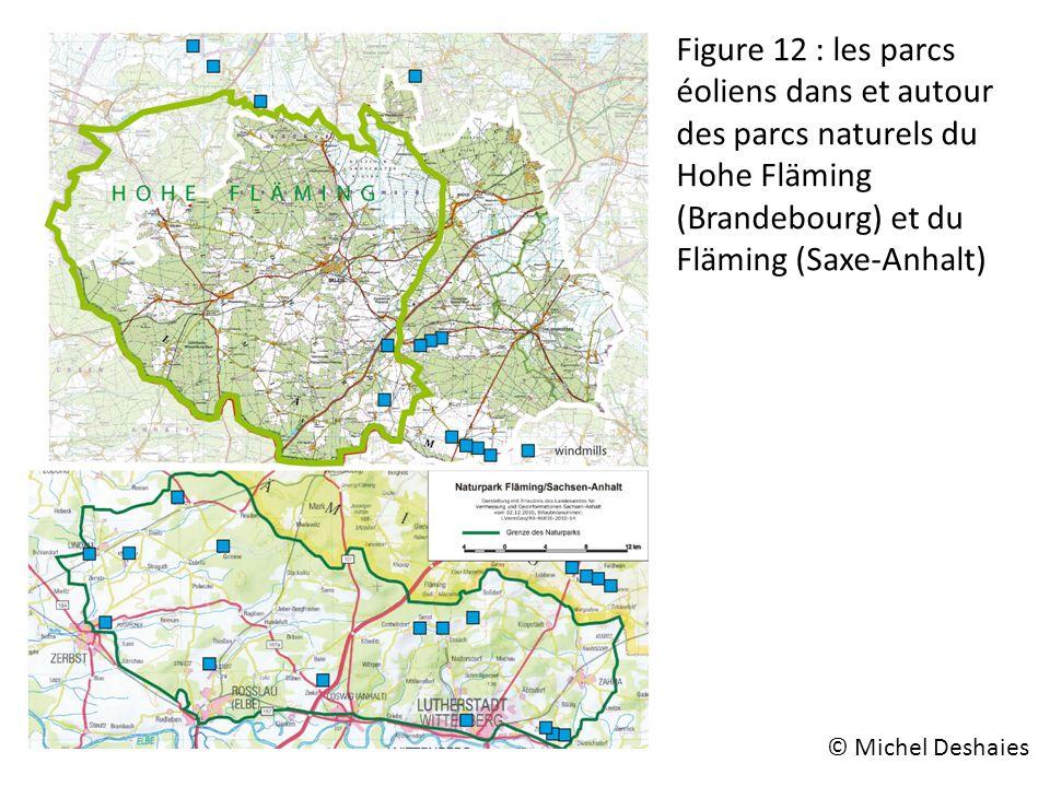 Figure 12 : les parcs éoliens dans et autour des parcs naturels du Hohe Fläming (Brandebourg) et du Fläming (Saxe-Anhalt) © Michel Deshaies