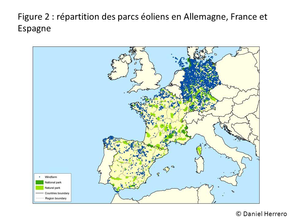 Figure 2 : répartition des parcs éoliens en Allemagne, France et Espagne © Daniel Herrero