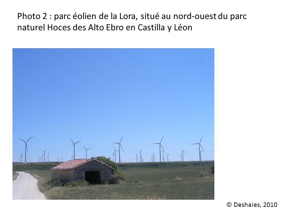 Photo 2 : parc éolien de la Lora, situé au nord-ouest du parc naturel Hoces des Alto Ebro en Castilla y Léon © Deshaies, 2010