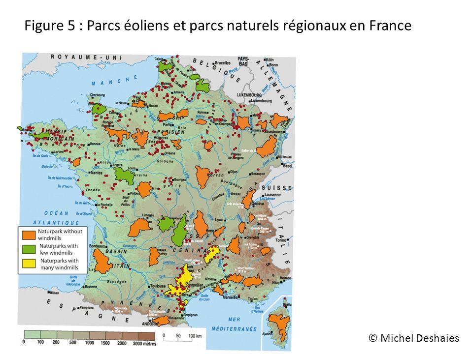 Figure 5 : Parcs éoliens et parcs naturels régionaux en France © Michel Deshaies