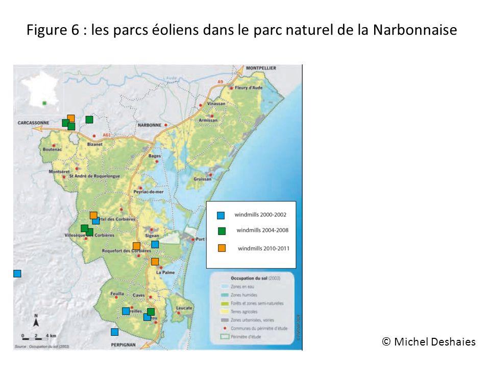 Figure 6 : les parcs éoliens dans le parc naturel de la Narbonnaise © Michel Deshaies