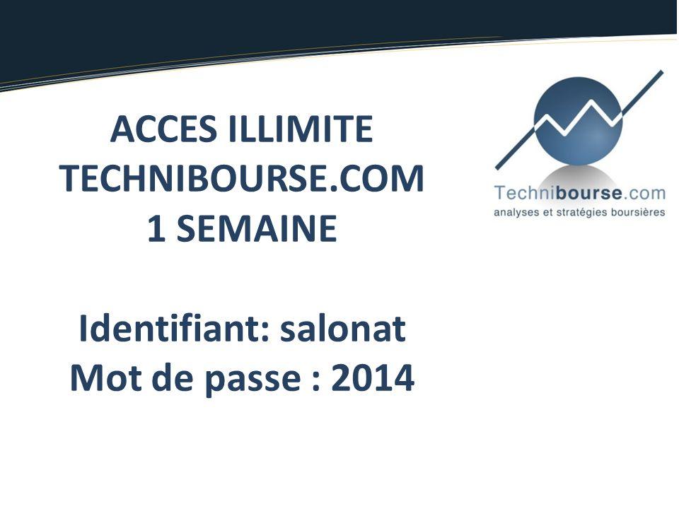 ACCES ILLIMITE TECHNIBOURSE.COM 1 SEMAINE Identifiant: salonat Mot de passe : 2014