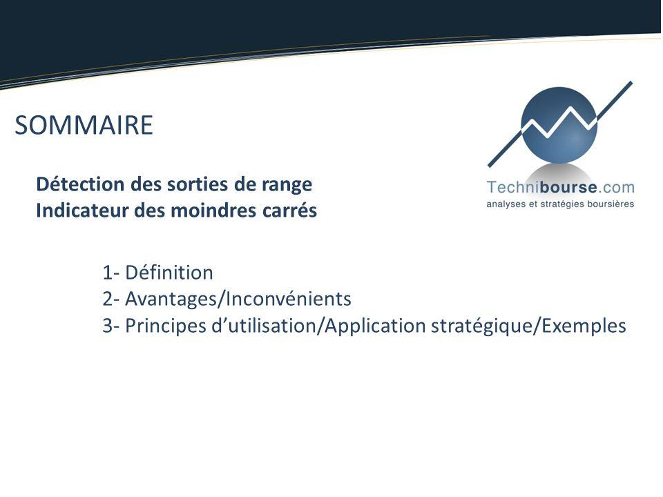 SOMMAIRE Détection des sorties de range Indicateur des moindres carrés 1- Définition 2- Avantages/Inconvénients 3- Principes dutilisation/Application stratégique/Exemples
