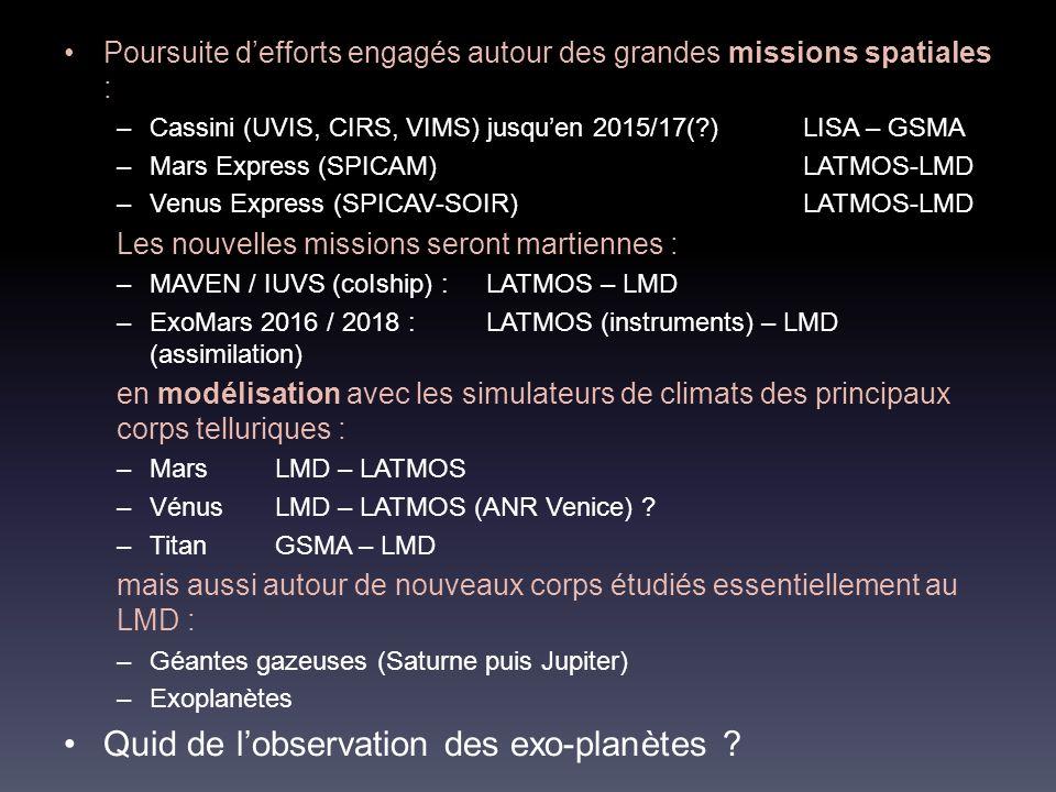 Poursuite defforts engagés autour des grandes missions spatiales : –Cassini (UVIS, CIRS, VIMS) jusquen 2015/17(?)LISA – GSMA –Mars Express (SPICAM)LATMOS-LMD –Venus Express (SPICAV-SOIR)LATMOS-LMD Les nouvelles missions seront martiennes : –MAVEN / IUVS (coIship) : LATMOS – LMD –ExoMars 2016 / 2018 :LATMOS (instruments) – LMD (assimilation) en modélisation avec les simulateurs de climats des principaux corps telluriques : –Mars LMD – LATMOS –VénusLMD – LATMOS (ANR Venice) .