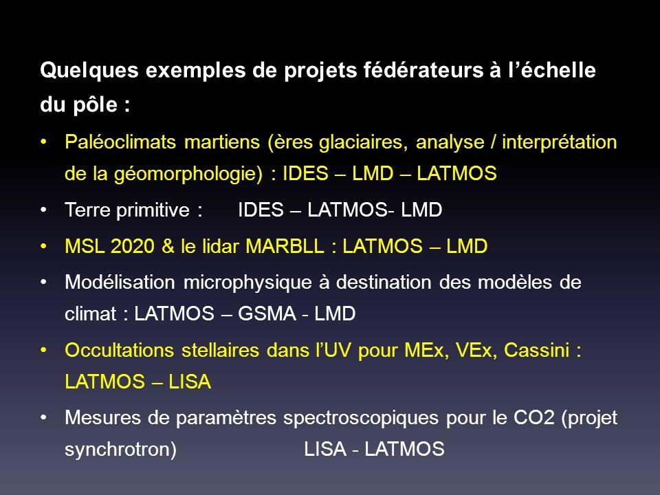 Quelques exemples de projets fédérateurs à léchelle du pôle : Paléoclimats martiens (ères glaciaires, analyse / interprétation de la géomorphologie) : IDES – LMD – LATMOS Terre primitive :IDES – LATMOS- LMD MSL 2020 & le lidar MARBLL : LATMOS – LMD Modélisation microphysique à destination des modèles de climat : LATMOS – GSMA - LMD Occultations stellaires dans lUV pour MEx, VEx, Cassini : LATMOS – LISA Mesures de paramètres spectroscopiques pour le CO2 (projet synchrotron)LISA - LATMOS